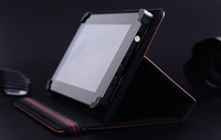 Dual Station Leather Case Cover with Stand for 9.7 inch  tablet pc with magic positioning buckle