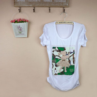 2012 summer women t-shirt basic shirt short-sleeve o-neck women's white print 100% cotton slim