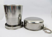 250ml stainless steel travel camping folding collapsible cup with keychain SILVER