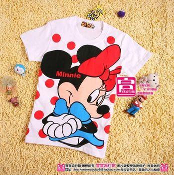 Women t shirt cartoon 100% cotton dot MINNIE o-neck Women short-sleeve T-shirt