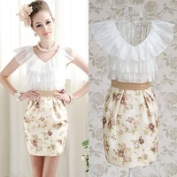 2013 flower print vintage v-neck chiffon evening patchwork ruffles night slim office ladies women's dress