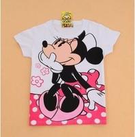 Free shipping women cartoon minnie lovely  women's short-sleeve 100% cotton t-shirt lady t shirt