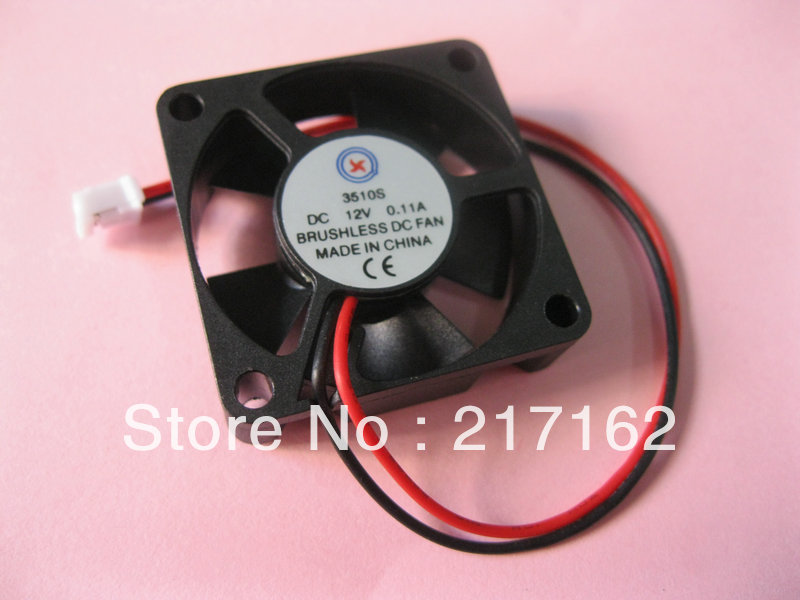 2 Pcs Per Lot Brushless DC Cooling 5 Blade Fan 3510S 12V 0.1-0.3A 35x35x10mm Black Brand New HOT Sale High Quality(China (Mainland))