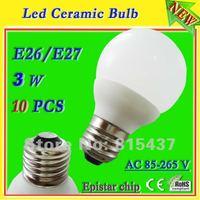 Free shipping 10 pcs/lot  high power 3x1w 3w E26 e27 led lamp ceramic shell 300 lumen ac 85-265v Epistar warm / white light