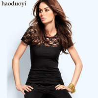 freeshipping Haoduoyi2012 black lace short-sleeve T-shirt lace patchwork short sleeve shirt hm6 full for women