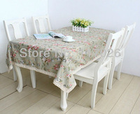 Free shipping Rustic country style table cloth linen printed table cloth flower lace table cloth 140X220cm LS-010
