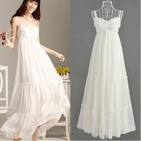 FREE SHIPPING  women's 069006 white bohemia full dress beach dress spaghetti strap one-piece dress high quality