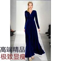 Free shipping Women's fashion plus size gold velvet slim long-sleeve dress full dress long style V one piece dress High quality