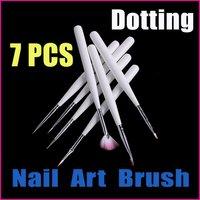 10 sets/lot 7 PCS White Nail Tools Design Pen Painting Dotting Tool Nail Art Brush Set Wholesale