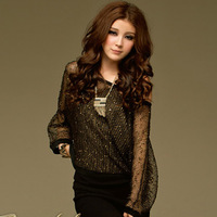 8263 sexy gold net knitted shirt