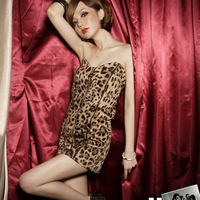 3772 queen sexy leopard print flannelet tube top dress