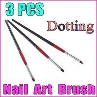 3PCS Black+Red Handle Nail Art Design Pen Painting Dotting Pen Nail Art Brush Nail Tools Set , Free Shipping Wholesale