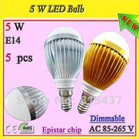 Free shipping 5 pcs/lot 5w E14 dimmable ses led light bulb silver / gold aluminum 500 lumen Epistar warm/ white light ac 85-265v