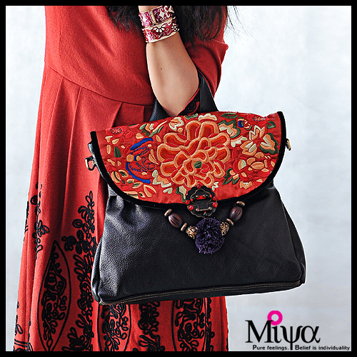 Embroidered Leather Bag Bag Leather Large Tote