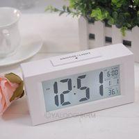New 1pcs White Digital LED LCD Snooze Station Calendar Desk Alarm Clock 80324 Free Shipping