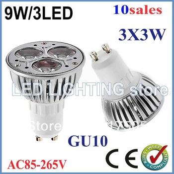 Free shipping 10x Dimmable GU10 E27 MR16 9W High power LED Bulb Spotlight Downlight Lamp LED Lighting 600lm Good Quality