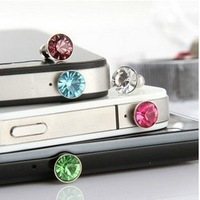 hot Swarovski dust plug earphone dust plug diamond dust plug pendant 3.5 headphone jack Universal dust plug for iphone