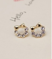 ($ 10 from the mixed batch) K gold plated ultra compact chic sparkling rhinestone bow flower earrings B747