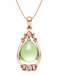 Certified 4.76CT Natural Prehnite and k Rose Gold Diamond Pendant PT049P-GR(China (Mainland))