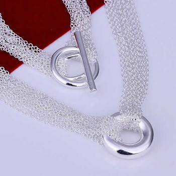 Hot! free shipping wholesale 925 silver necklace, 925 silver fashion jewelry Mesh Shape O Necklace KDN003