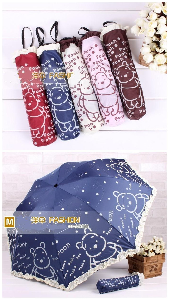 Winnie Bear Screen Print 3 fold Manual Umbrella Pongee Fabric Free Shipping Pink/Beige/Coffee/Wine Red/Navy Blue Color choosen(China (Mainland))