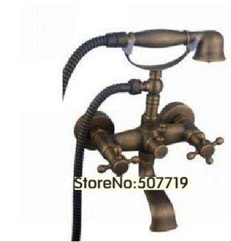 Antique Brass Widespread Bathroom Sink Faucet/shower faucet,Bathroom mixer Faucet sets/bronze mixer Bathtub tap /Telephone taps