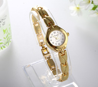 Hot sale Free Shipping Women Lady's royal gold Dial carve stainless steel Bracelet Watch Time Quartz