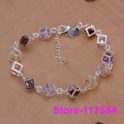 H220 925 sterling Silver bracelet 2013 Fashion Jewelry bracelets for women The color Stone checkered /amna jdua(China (Mainland))