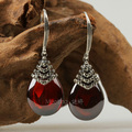 Vintage thai silver LAOYINJIANG 925 pure silver earring pomegranate red zircon earrings Women stud earring gift