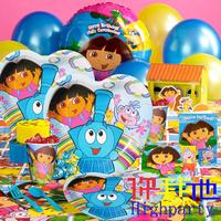 Kids Bithday Party Decoration, Explorer Dora Theme Party Suppliers Including Party bags, plates, cup,hat ,Blow out,49 pcs