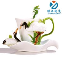 Free Shipping Fashion enamel porcelain coffee cup lovers ceramic glass set b106