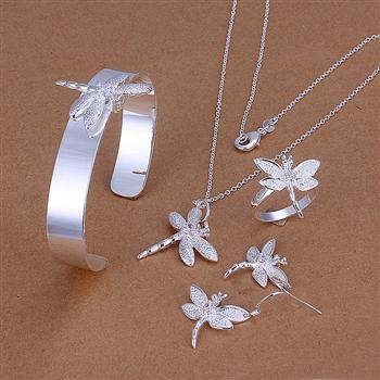 S276 2013 Wholesale Silver Plated Dragonfly Necklace Bangle Earrings Ring Jewelry Sets Free Shipping(China (Mainland))