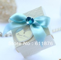 candy box , white gift box with blue heart decoration, SR30-M , gift package, wedding favors, free shipping