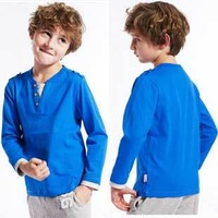 New Fashion Boys Solid Color Long Sleeve T-Shirts Candy Color Tops Cotton Tees, Free Shipping K0296