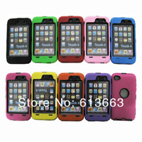 Robot Defender Case Hard PC + Silicon Back Cover Case For Ipod touch 4 4G,100pcs/lot,Free Shipping