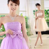 Free Shipping 2014 Hot-selling Bride Evening Dress,Celebrity Party Dresses Short Design Fashion Sweet  Dress