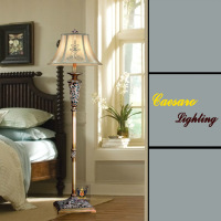 Fashion classical floor lamp american style living room floor lamp ofhead lights resin carved