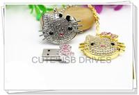 Retail genuine 2GB 4GB 8GB 16GB 32GB Hello Kitty jewelry cartoon usb flash drive with gift box+Free shipping + dropping shipping