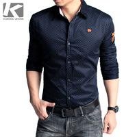 2014 New Arrival Tops Fashion KUEGOU Male shirt long-sleeve shirt male casual shirt Men polka dot slim men's clothing male
