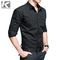 2014 New Arrival Tops Fashion KUEGOU Male long-sleeve slim shirt black shirt male casual male shirt 9003 free shipping