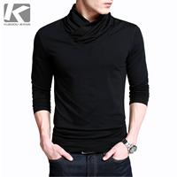 2014 New Arrival Tops Fashion KUEGOU elegant unique turtleneck comfort lycra cotton men's long-sleeve T-shirt