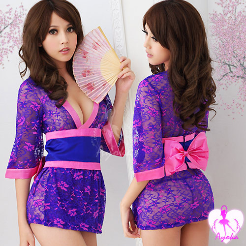 Free shipping - New Sexy Lingerie Kimono Costume+G-String Sleepwear Pajamas Robe + Wholesale 10pcs/lot(China (Mainland))