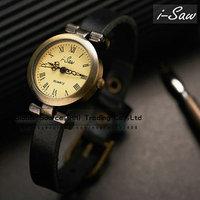 Original i-Saw wristwatch Genuine Leather watchband ROMA watch header vintage Fashion women watch bracelet pendant Hot sales !