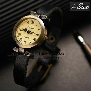 Original i-Saw wristwatch Genuine Leather watchband ROMA watch header vintage Fashion women watch bracelet pendant Hot sales !(China (Mainland))