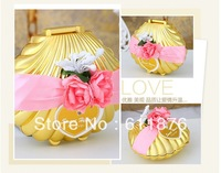 candy box , Creative golden shell with artificial flower ribbon decoration, JBK102, gift package, wedding favors, free shipping