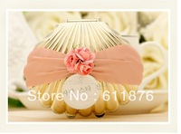 candy box , Creative golden shell with artificial flower ribbon decoration, JBK05, gift package, wedding favors, free shipping