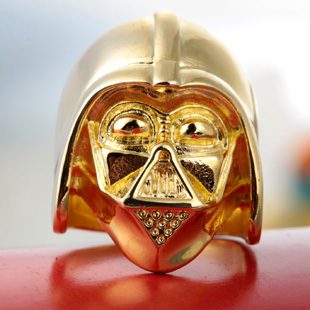 3pcs 18k Gold Plated Star Wars Darth Vader Face Head Mask Helmet Ring Size 7 8 Factory Price Star War Ring Jewelry(China (Mainland))