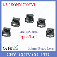 Wholesale 5pcs/lot 1/3'' SONY Effio-E 700TVL Metal Mini Camera with 3.6mm Board Lens and low illumination 0.005lux, DWDR, 2D-NR