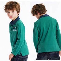 New Fashion Style Autumn, Spring Children Polo Shirts Design Long Sleeve T-Shirt Kids Colorful Tops, Free Shipping K0297