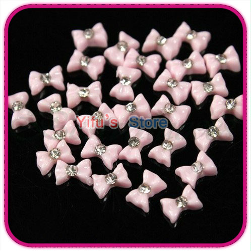 100 pcs/pack 3D Pink Color Acrylic Bowknot Bow Tie Rhinestone Nail Art Tips Decoration Dot Resin Ribbon Flatback Bead Sticker(China (Mainland))